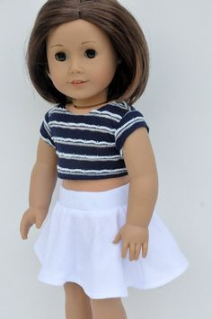 American Girl Doll Clothes White Skater Skirt with Navy Striped Crop Top 18 by CircleCSewing