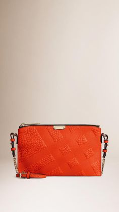 Vibrant orange Embossed Check Leather Clutch Bag - Image 1