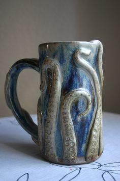 Octopus Mug in Ocean Blue  12 oz by stonesthrowceramics on Etsy, $28.00
