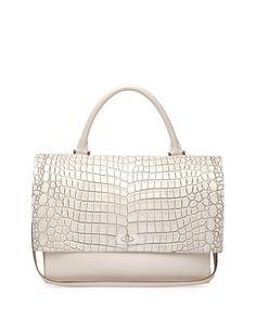Givenchy Croc-Stamped Medium Shark-Lock Satchel Bag, Off White  BAGS   beautyinthebag  designer bd047ca9eb