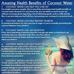 Amazing Health Benefits of Coconut Water ~