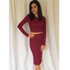 Burgundy two piece dress Very cute burgundy long sleeve two piece dress model is 5'4 and wearing a small Dresses Long Sleeve