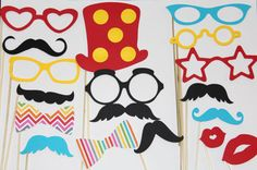 20 Piece Photobooth, Circus Photobooth, Circus Party, Photo Booth, Mustache and Lips on Etsy, $20.00