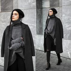 Holynights Claudia - Jollychic Coat, Stylewe Turtleneck Sweater, 4th And Reckless Boots, Daniel Wellington Watch - Winter grey's
