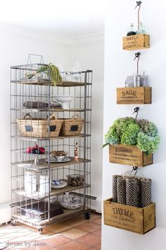 Nesting herb crates filled with fall hydrangeas