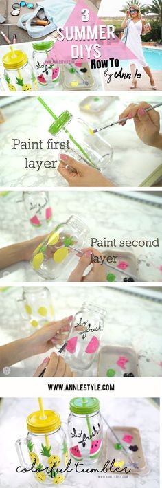 3 Summer DIY Projects You Must Try | Colorful Tumbler Glass | LifeAnnStyle.com