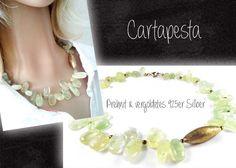 *Prehnit* Kette mit vergoldetem 925er Silber von Cartapesta auf DaWanda.com