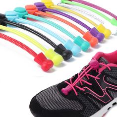 16PC Colored No Tie Elastic Shoe Laces 100/% Silicone Trainers Adult Shoelaces JR