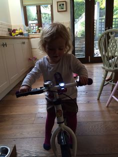 My little girl on her 1st bike.  maybe one of the 1st Tour de France woman's team sky riders when she's older