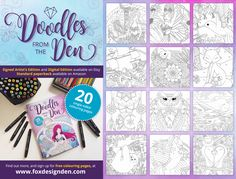 Doodles from The Den colouring book, designed and illustrated by Kim White. Available as a signed Artist's Edition and Digital Edition on Etsy, and also available as a standard paperback on Amazon. #coloring #colouring #adultcolouring #adultcoloring #coloringbooks #colouringbooks #artistsedition #amazon #etsy #doodlesfromtheden #foxdesignden #fantasy #mermaids #narwhal #sloth #owl #coloringsheets #mindfulness #art #therapy