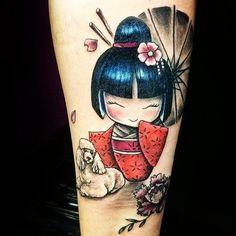 #kokeshi #kokeshitattoo #kokeshidoll #kokeshidolltattoo #doll #dolltattoo #colortattoo #tattoojapanese #tattoo
