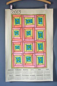2013 Quilt Love Tea Towel Calendar - Linen / Cotton. $21.00, via Etsy.