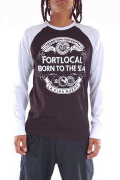 Camiseta Manga Longa Raglan AZZURRA. Tecido 100% Algodão. Compre em http://fortlocal.com.br