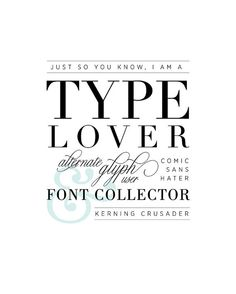 Type Nerd Poster for Designers or Typography Lovers by Jill Means at brightsideprints, $8.00