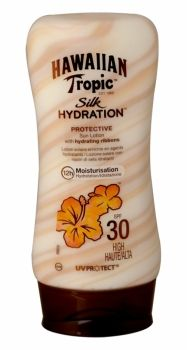 Hawaiian Tropic Silk Hydration Protective Sun Lotion 180ml Spf 30 Introducing the new sunscreen lotion from Hawaiian Tropics, the only sunscreen with hydrating ribbons for continuous in-sun moisture. With its ultra-luxurious hydrating silk ribbons, Hawaiian Tropic Silk Hydration™ lotion sunscreen nourishes and pampers skin while providing broad spectrum UVA and UVB protection and 12-hour moisturization when out in the sun