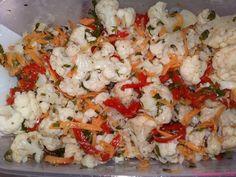 Компоненты  1 кг - цветная капуста  1 - морковь большая  1 пакетик - специи по корейски  4 ст.ложки - уксус  0,5 ст. - растительное м...
