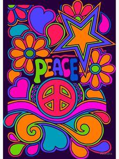 Hippie Painting, Trippy Painting, Hippie Wallpaper, Love Wallpaper, Hippy Art, Peace Sign Art, Peace Signs, 60s Art, Hippie Peace