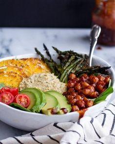 BBQ Chickpea and Crispy Polenta Bowls