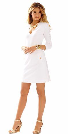 CHARLENA DEEP V-NECK KNIT SHIFT DRESS