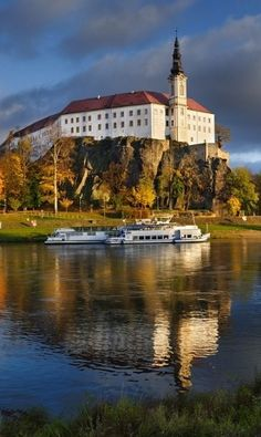 Děčín castle across Labe river, Czechia. Photo by Ladislav Renner #castle #czechia #river