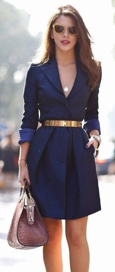 Navy Spring Dress With Belt and Shades | Fashion Magzen
