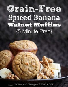 You can prep these paleo spiced banana walnut muffins in 5 minutes flat. Makes a great breakfast or back-to-school snack. Click to read the recipe.