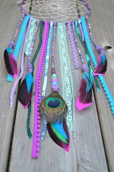 Handmade Dreamcatcher Peacock themed Bohemian by InspiredSoulShop, $50.00