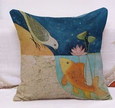 Yecz bird Hand Painted Floral Pattern Bird Pillow Covers ...
