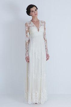 Vintage Ivory Lace Long Sleeves A Line V Neck Wedding Evening Ceremony Dresses | eBay