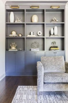 Home Living Room Modern Shelves Ideas For 2019 Bookshelves Built In, Built Ins, Bookcases, Living Room Modern, Home Living Room, Small Living, Style At Home, Living Room Lounge, Trendy Home