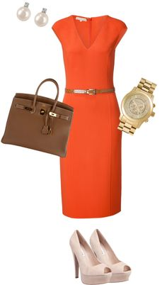 A fashion look from June 2012 featuring Michael Kors dresses, Steve Madden pumps and Hermès handbags. Browse and shop related looks. Corporate Attire Women, Corporate Chic, Corporate Wear, Corporate Fashion, Business Attire, Power Dressing, Classy Outfits, Work Outfits, Dress Outfits