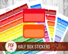 Half Box Printable Planner Stickers Printable HALF BOXES planner Stickers Checklist stickers Half Box Erin Condren Planner Stickers by FleurStickers on Etsy