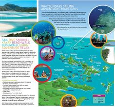 WHITSUNDAYS SAILING ADVENTURES HIGHLIGHTS. This map illustrates the highlights of a 'Whitsundays Sailing Adventure'. There is a fantastic range of pristine bays, fabulous coral lined coves, rainforest walks and white sandy beaches to choose from. Whitsundays Sailing Adventures yachts have the widest range of anchorages available of any fleet in the Whitsunday Islands; this means we can arrange the trip to best suit prevailing wind and tide conditions.