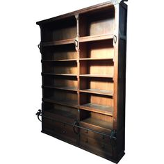 Large Oak Wood Bookcase with Iron Step Rod, from circa Bookcase have 6 sections with drawers, unique are the wrought iron step rods, with, Craftsman Furniture, Antique Furniture, Bookcase Storage, Ruby Lane, Warm Colors, Getting Organized, Wrought Iron, Interior And Exterior, Cool Designs