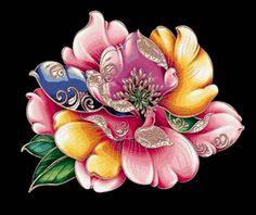 """подушка""""китайский пион"""" - Схемы вышивки - eddy2 - Авторы - Портал «Вышивка крестом»"""