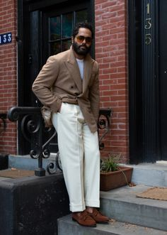white and cream and camel Mens Fashion Blazer, Style Me, Sportswear, Personal Style, Menswear, Casual, Note, Inspiration, Shopping