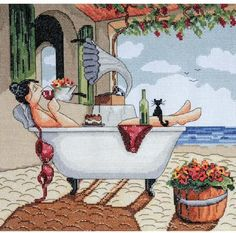 cross stitch pattern of woman relaxing in a bathtub - Google Search