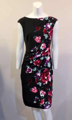 Ralph-Lauren-6-Black-Pink-Floral-Career-Sheath-Dress