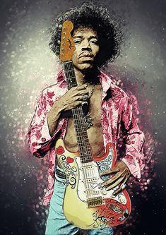 Janis Joplin Wall Art - Digital Art - Jimi Hendrix by Zapista OU Rock Posters, Band Posters, Concert Posters, Rock And Roll, Pop Rock, Janis Joplin, Guitar Art, Music Guitar, Music Artwork