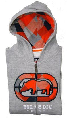 Mens Large Ecko Unltd Rhino Hoodie Cross Country Full Zip Fleece Sweatshirt Gray #EckoUnltd #Hoodie
