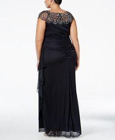 Xscape Plus Size Illusion Beaded Gown | macys.com