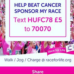 Mrs. Raynville is running the Race for Life 5k for Cancer Research - dig deep people!