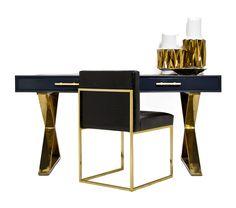 Cody Desk in Charcoal w/ Brass X-Legs by ModShop