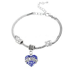 BEST FREIND BRACELET LOVE HEART CRYSTAL CHARM PENDANT BEADS SILVER TONE BANGLE  #New #Bangle