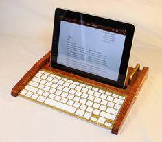 iPad Workstation - Keyboard - Tablet  Dock  - Oak -  iPad, IPhone, Tablet Bluetooth Keyboard Computer Desktop Workstation