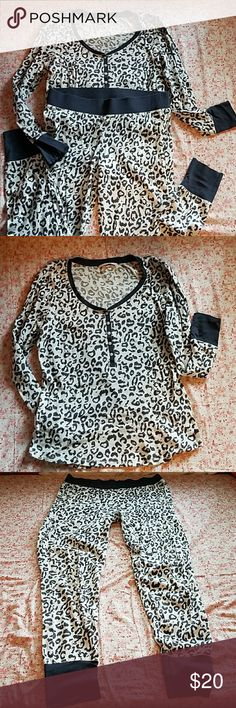 """COMFY PJ'S ANIMAL PRINT THERMAL PJ'S. ONLY WORE A FEW TIMES. VERY COZY. TOP APPROXIMATE MEASUREMENTS SHOULDER TO HEM 23"""", SLEEVE LENGTH 22.5"""", CHEST LAYING FLAT 18"""", BOTTOMS  LENGHT 38"""", INSEAM 29"""", ELASTIC WAIST LAYING FLAT 15.5"""". MATERIAL LISTED IN PICTURE. HAPPY POSHING Victoria's Secret Intimates & Sleepwear Pajamas"""