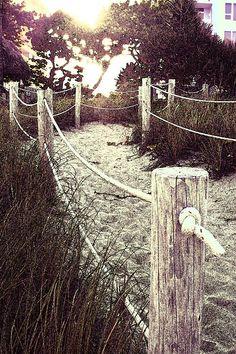 Grassy Beach Post Entrance at Sunset - Deerfield Beach FL ocean, sea, beach, path, sandy, grassy, posts, coast, shore