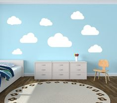 Set of 8 Clouds Wall Decal - Childrens Room Decor Kids Room Teen Room Vinyl Wall Decal Clouds on Etsy, $14.00