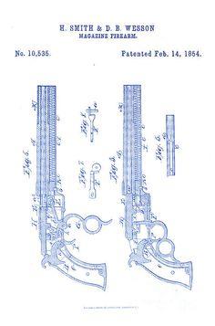 1854 Smith and Wesson Magazine Firearm Gun Patent Art - Dark Blue on White