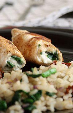 Pechugas de pollo rellenas de queso y espinacas